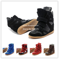 Hot Sale! Newly Isabel Marant Women's Velcro Strap High-TOP Sneakers Shoes/Ladys Ankle Wedge Boots, Size 36-41, Free Shipping