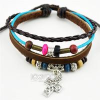 Hot Sale Cross Bead Pendanr Bracelet,  Alloy Genuine Cow Leather Rope Bracelet 50pcs/lot Free Shipping A0040