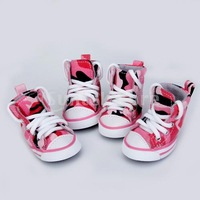 Free Shipping Pet Dog Canvas Sport Shoes Boots Lace-up Sneakers Pink Camo