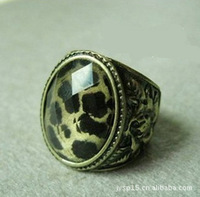 Wholesale fashion jewelry Retro Leopard grain gem carve ring Free shipping Mini $15 mixed oredr