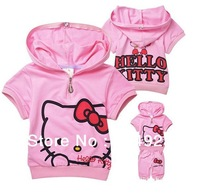 New arrival 5 sets/lot fashion cute hello kitty Summer children clothing set short sleeve T-shirt +pants kids suit clothes sets