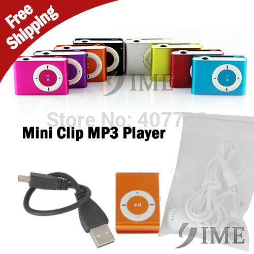 Clip mini lecteur mp3 avec micro tf/fente pour carte sd avec câble/usb+earphone no retail box, 10pieces/lot