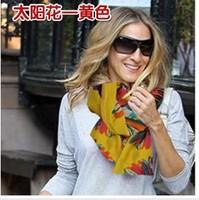 Free shipping 2013 hot sale Beach Sunscreen scarf Beauty  Sun Flower Chiffon women's scarf spring autumn Chinese scarf