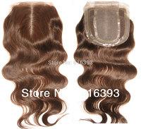 "New Style 12"" #4 Body Wave Cheap Silk Base Closure Brazilian Hair Silk Top (2.5''x4'') Thin Skin 100% Human Hair Lace Closure"