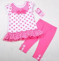 Free shipping hiqh quality 2013 new 4 sets/lot 4~7T summer clothing sets pink polka dots lace bow short t shirt + pink legging