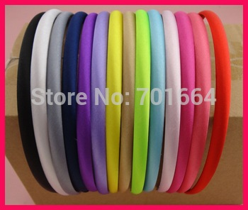 100PCS Assorted Colors 10mm Satin Fabric Wrapped Plain Plastic Hair Headbands for DIY Hair Accessories