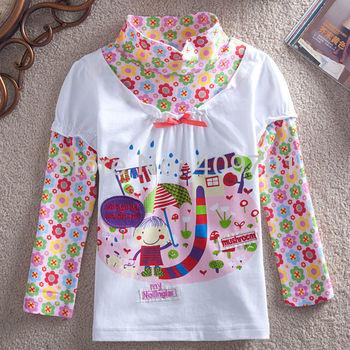 FREE SHIPPING F3346# Nova kids baby girl turtleneck long sleeve flower printing fashion style t-shirt
