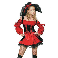 Free shipping wholesale High Quality Sexy Pirate Costumes Red Sexy Basque & Corset Women Halloween Costumes PW0051 Drop Shipping