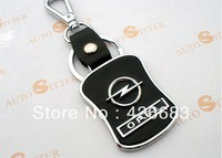 Car Accessories OPEL auto Logo Leather Stainless Steel Keyring keychain for cars