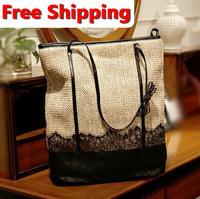 2013 female punk straw bag vintage bag rivet lace bow shoulder bag female bags