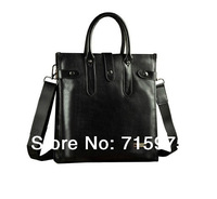 2014 Luxury Man Genuine leather handbags Cowhide shoulder bag casual briefcase commercial handbags free shipping