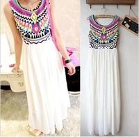 2014 Fashion white vintage print summer paillette long dress bohemia lady chiffon sleeveless tank woman dress beach women dress