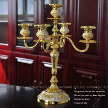 Rare antique gold plated 5 light candelabra candelabrum metal candle holder set candlesticks wedding decoration 2028A(China (Mainland))
