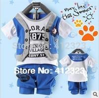 Retail baby children clothing sets boys summer kids clothes set child sport set track suit t shirt short pant trouses
