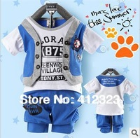 Retail baby children clothing sets boys summer kids clothes set child sport set track suit t shirt short pant trouses