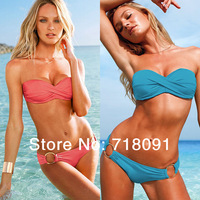 Drop Free Shipping,Swimwear,Sexy Women Lady Padded Boho Fringe Bandeau Top Strapless Dolly Bikini Set,1 Set