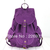 Free shipping Bags 2013 women's backpack handbag travel backpack canvas bag casual middle school students school bag purple