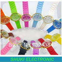 2013 new style fashion silicone women lady girl wristwatch ,candy watch ,new menchanical quartz watches, gold multi scale watch