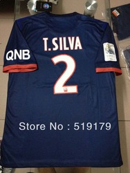Thailand quality 2013-2014 Paris St German Home jersey T.SILVA 2 Player version PSG T.SILVA 2 Soccer jersey Free shipping(China (Mainland))