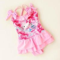 Retail! 1PC Hello kitty children swimwear baby girl one-piece swimsuit lovely girls bathing suit beachwear
