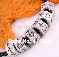 Free Shipping 50Pcs Tibetan Silver Hexagon Cross Heart Love 7x8mm EP Beads Fit Bracelet For Jewelry Making Wholesale