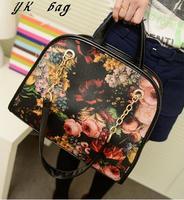 2013 women handbag Winter fashion vintage women messenger bag oil painting romantic flower bags casual    free shipping