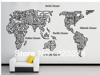 Wholesale,Large World Map Removable Wall Decal Letters Home Decor Wall Vinyl Art House Wall Sticker 160*100cm Free Shipping