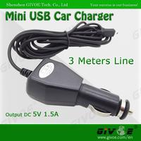 Free Shipping Universal 3M Meter Long DC 5V 1.5A Max Mini USB Car Charger Adapter For Car DVR Black Box GPS