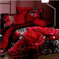 unique wedding bedclothes cotton printed 4pc bedding set 3d bedlinen king queen bed sheet sets Duvet/Comforter/Quilt cover sets(China (Mainland))