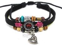New Fashion Hematite Loving Alloy Pendant Genuine Leather Beaded Bracelets 50pcs/lot Free Shipping A0259