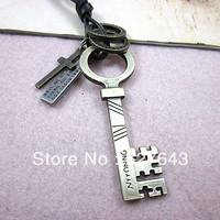 Wholesale(Min.Order $15)100% Genuine Leather 2013 Men Long Necklace Punk Vintage Leather Necklace Key Pendant Gifts VN074