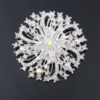 Fashion crystal snownflace brooch pins new design beautiful silver clear rhinestone crystal brooch pins