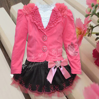 Free Shipping New Spring models girls skirt dress baby cardigan small three-piece suit