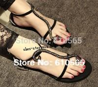 Free Shipping Sandals 2014 Sex Goddess Snake Rhinestone T-cover Toe Buckle Flat Heel Women Sandals Fashion Women Shoes