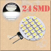 DHL free shipping 100pcs G4 24 SMD Pure White RV Marine Boat Home 24 LED Home Light Bulb Lamp