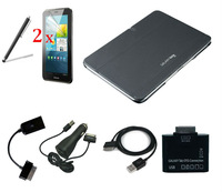 Hot Stand Slim Leather Case Skin Cover for Samsung Galaxy Note 10 1 N8000 N8010 + pen +usb cable + otg cable + card reader
