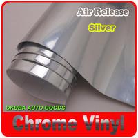 HIGH QUALITY Silver Chrome Car Vinyl Wrapping Film/Chrome Film Air Channels