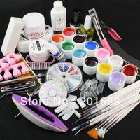 Jumbo Nail Art color UV gel set glitter Decoration brush false tips top cost files 12 colour uv gel Kit tools - NA873