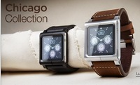 1pcs  Chicago Collection Real Leather Multi-Touch Watch Band Wrist Strap For Apple IPod Nano 6 6th,Free shipping,D0082