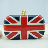 British Flag Skull head clutch purse/Evening bag New Fashion high quality flag evening bags with Shoulder Chain