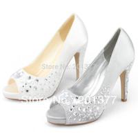 SHOEZY 2014 Womens Silver White Satin Rhinestone Peep Toes Platform Pumps Wedding shoes heels Dress High Heels Sandals Shoes