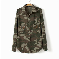 Europe and America 2013 fashion spring new long-sleeved  camouflage uniform shirt pocket rivets