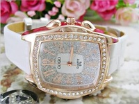 Europe and the USA 2013 Bling Bling fashion dress table atmospheric ladies women leather watch diamond watches dhl free shipping