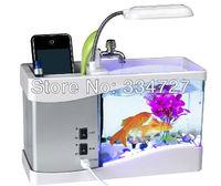 USB Powered Desktop Fish Tank Aquarium with 6-LED White Light & LCD Time Display (1.5L) -Black/White