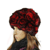 Free Shipping 2013 Winter Women's High-quality Fur Hat Rose Disk Flowers Rex Rabbit Hair Hat 4Colors Female Warm Fur Cap lady