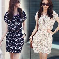 2014 spring women's clothing batwing sleeve o-neck chiffon one-piece dress female  4 size  S M L XL 9009#