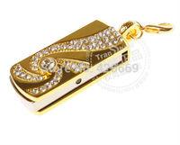 Full Capacity 4GB/8GB/16GB/32GB/64GB Golden cyclone crystal USB Flash Memory Drive Stick/Pen/Thumb.Free shipping