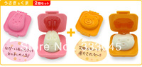 FREE shipping DIY 3D kawaii rabbit&bear egg mould mold rice ball maker seaweed cutter bento sushi tool janpan sushi mould mold