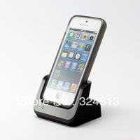 High Quality Desktop Charger Dock Cradle Docking Station For iPhone 5 5G with usb cable+Screen film Black  free shipping