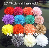 "2013 New 3.5"" Lace Eyelet Flowers 19Colors 50Pcs Eyelet Fabric Flowers Chiffon Flowers Free Shipping"